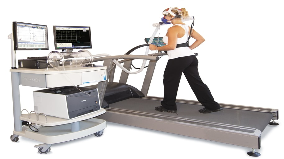 girl waking on treadmill for exercise stress test